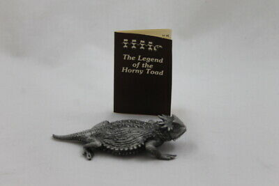 "4.5"" Tom McCain Horny Toad Pewter Figure Statue Sculpture Large Lizard 1998"