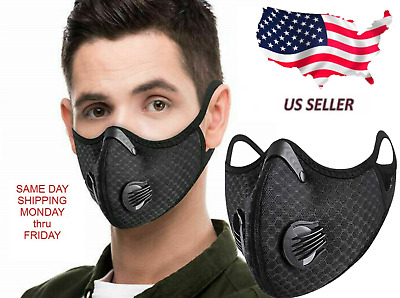 USA SELLER Face Mask With Replaceable Air Filter With Air Breathe Vents (Black)