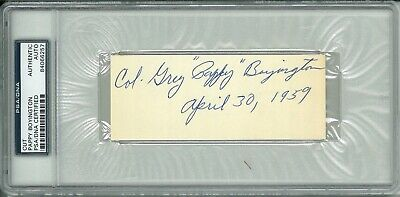 Greg Pappy Boyington Signed Cut Signature Psa Dna 84066257 (D) Rare Full Name