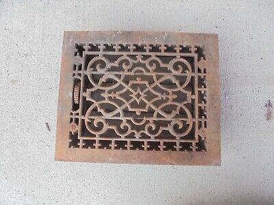 cast iron furnace grate with back fins & frame fits 10 inch X 8 inch opening