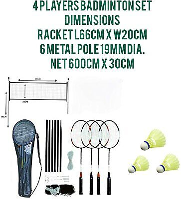 4 Player Complete Badminton Racket Full Set Ideal For Family Outdoor Garden Game