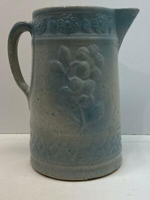 Early Antique Blue and White Stoneware Salt Glaze Pitcher Floral Flowers & Leave