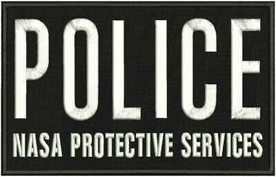 Police Nasa Protective Services Emb Patch 6X10 Hook On Back  Blk/White