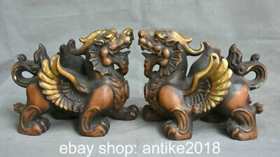 "6.8"" Old Chinese Copper Feng Shui Unicorn Dragon Beast Qilin Luck Statue Pair"