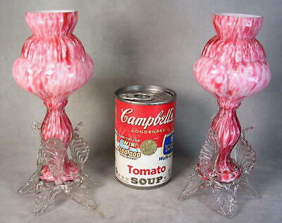 1880 Victorian Czech Pink Spatter Art Glass Cabinet Vases Applied Rigaree MINTY!