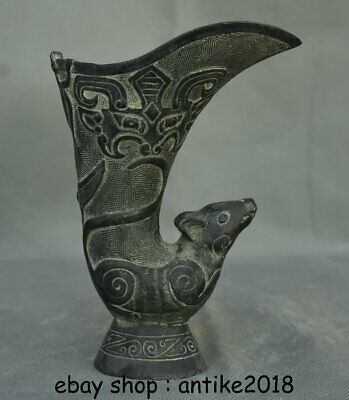 """6.8"""" Old Chinese Bronze Ware Dynasty Palace Mouse Mice Zun Goblet Drinking Cup"""
