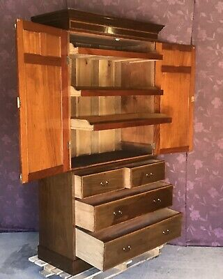Edwardian Mahogany Linen Press With slides, Wardrobe. Antique Linen Press.