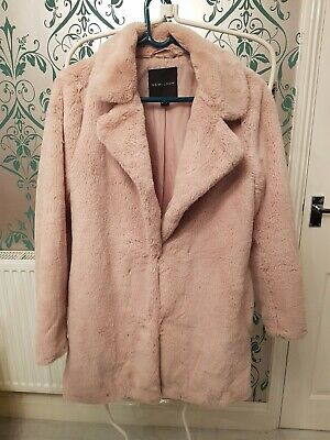 New look Pink Size 6 Polyester Fur Coat