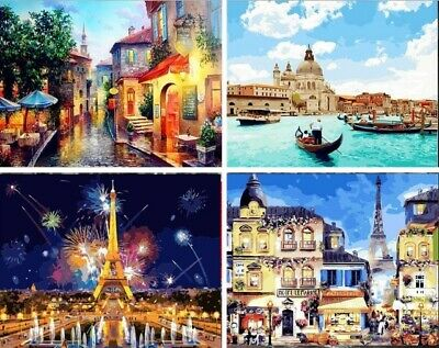 Venice Eiffel Tower Painting By Numbers Kit Includes Paints Brush Board Canvas
