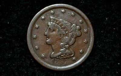 1857 HALF CENT ** FINE+ details ** NICE BROWN**Take 5% Off right now !
