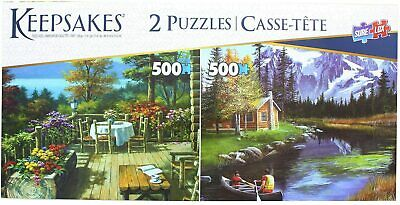 Set of 2, 500 Pieces Each Jigsaw Puzzles Log Cabin/Mountain Canoe  - Sure Lox