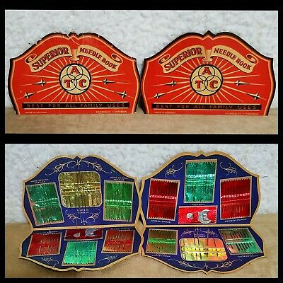 LOT Of 2 VTG Superior Needle Books Threader Hand Sewing Needles Germany Yarners