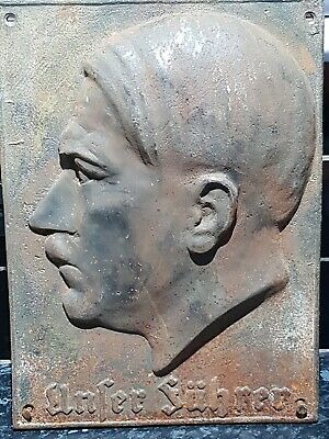 RARE German Antique , Old 1940s Heavy Cast Iron Wall Plaque of a Leader .