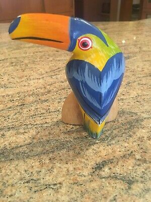 Vintage Hand Carved Hand Painted Wood Toucan Carving Figurine