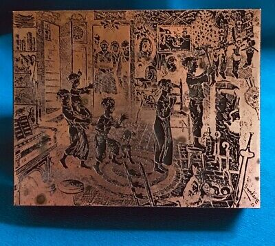 Rare Christmas Signed Bushnell Intaglio 1933 Copper Printing Block Etching Plate
