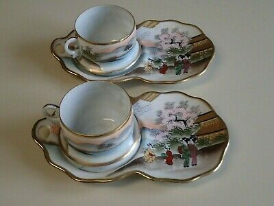 Vtg 2 Hand Painted Japanese Eggshell Porcelain Cup & Biscuit / Snack Tray