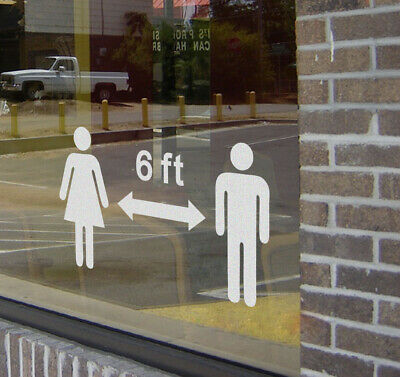 Social distancing 6 ft Business Sign Vinyl Wall Small Sticker Decals (10 Pack)