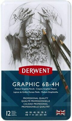Derwent34214 Graphic Medium Graphite Drawing Pencils, Set of 12, Professional Qu