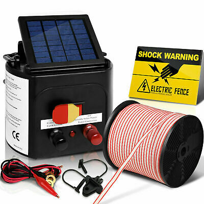 Giantz Solar Electric Fence Energiser Charger 3km w 400M Tape & 25pcs Insulators