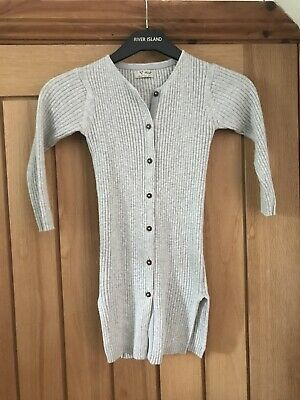 Next 4 Years Girls Long Line Ribbed Grey Cardigan Knitwear 104cm Spring Summer