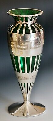 """Alvin Co. Sterling Silver Overlay 10"""" tall Art Deco vase SUPERB condition"""