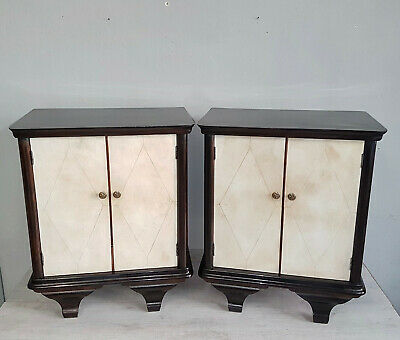 Italian Art Deco Bedside Table Walnut And Parchment Veneered From 1940