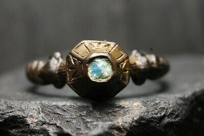 Unique Ancient Medieval Bronze Stone Ring, Rare Engraved, 13th-17th  Century AD.
