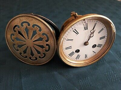 Antique French bell strike clock movement & back