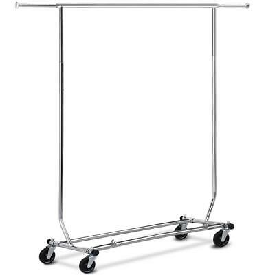 Adjustable Garment Rack Clothing Rack Single Rail W/Casters