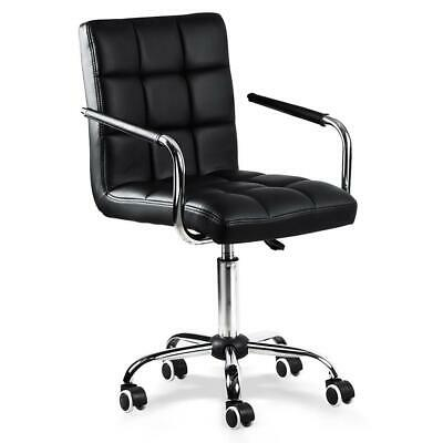 Black Office Chair Height Adjustable Mid Back PU Leather 360° Swivel 120kg/265lb