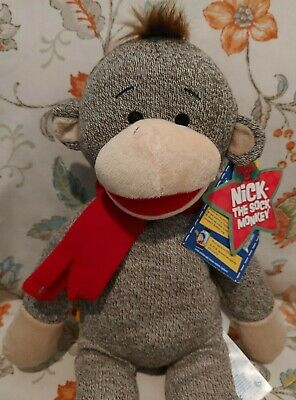 NWT Build A Bear stuffed plush Black Friday SOCK MONKEY girl Joy Christmas 2013