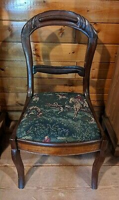 Vintage French Round Back Chair with Hunt Tapestry Seat