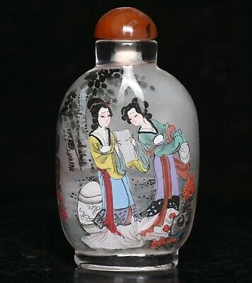 """3.6"""" China Glass Inner Painting Carving Dynasty Palace Woman Snuff bottle"""