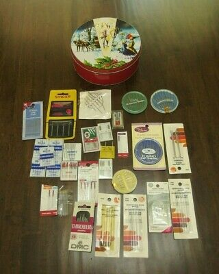 "VTG 7""Rd. Tin Box w/lots of different kind of Sewing Needles x Hand or Machines"