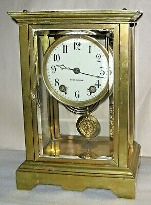 ANTIQUE SETH THOMAS ORCHID No. 2 CHIME CLOCK CRYSTAL REGULATOR 15 DAY WORKING