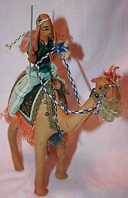 Vintage Handcrafted Leather Wrapped Camel & Rider Made in Egypt