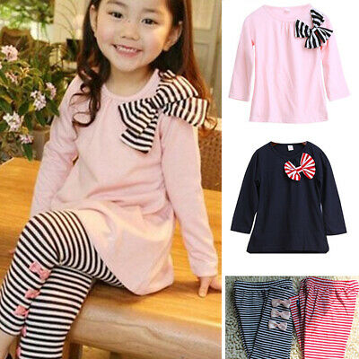 Toddlers Girls Bow Knot Casual Long Sleeve Warm Tops Striped Pants Leggings Set