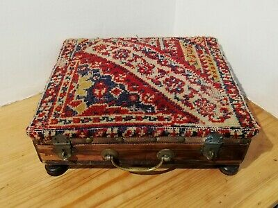 Victorian carpet-covered foot warmer stool with metal flask inside [D176]