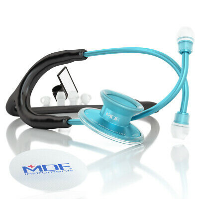 MDF Acoustica® Lightweight Dual Head Stethoscope - Matte Black and Blue
