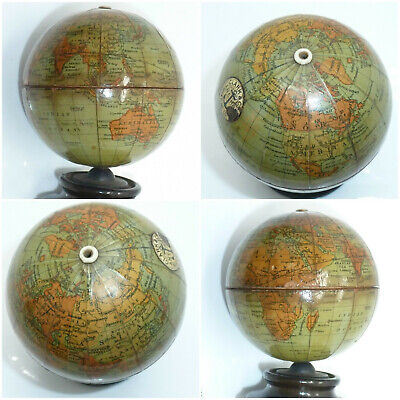 Victorian World Globe Sewing String Box Clark & Co Anchor miniature Treen