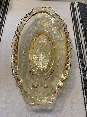 Imperial Glass Amber Love Request is Pickle Dish