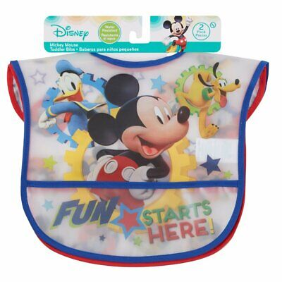 New Disney Mickey Mouse Water Resistant Plastic Toddler Bib 2 Pack