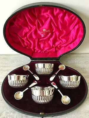 Mappin & Webb Silver Plate Salt Dishes & Spoons – Set of Four