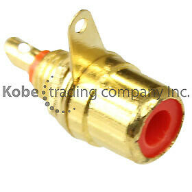 2 PCS Red Chassis Mount Gold Plated Female RCA Jack - Solder Type