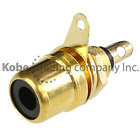 2 PCS BLACK Chassis Mount Gold Plated Female RCA Jack - Solder Type