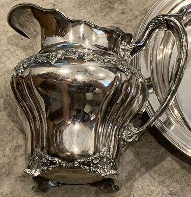 Ornate C1900 Derby Silver Grapes Footed Water Pitcher- Heavy