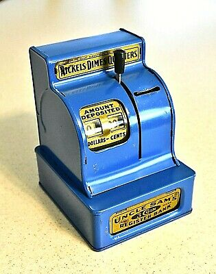 Uncle Sams Metal 3 Coin Register Bank ~ Looks & Works Great- Usa Made 1896- 1900