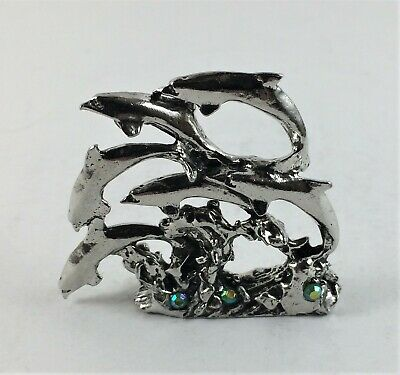 Pewter JUMPING DOLPHINS with CRYSTALS
