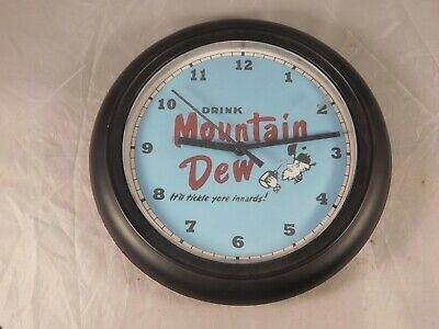 Mountain Dew Battery Operated Wall Clock Hillbilly  It'll Tickle Yore Innards!