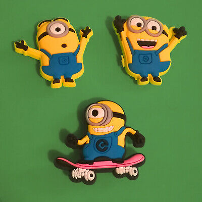 3pcs / HQ PVC Shoe Charms - Minions -  Similar to Jibbitz and fits Crocs